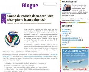 Coupe du monde soccer blogue rendez-vous francophonie