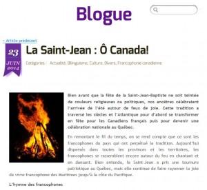 Feu de la Saint-Jean Rendez-vous de la francophonie